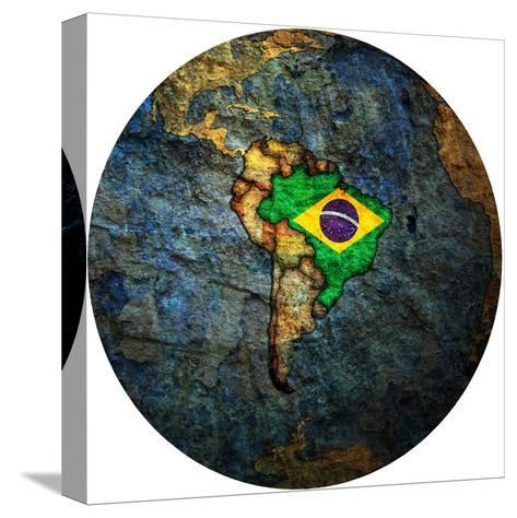 Brazil Flag On Globe Map-michal812-Stretched Canvas Print