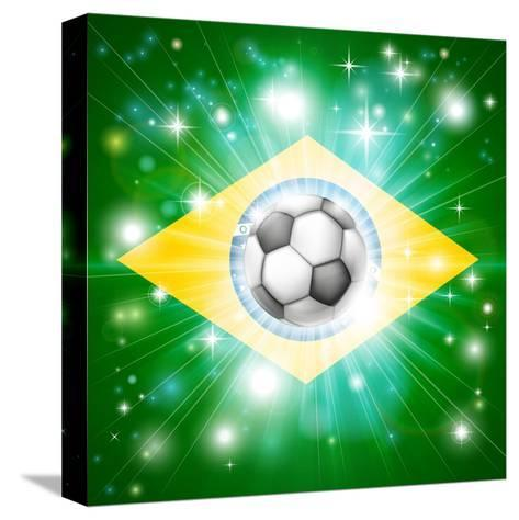 Brazil Soccer Flag-Krisdog-Stretched Canvas Print