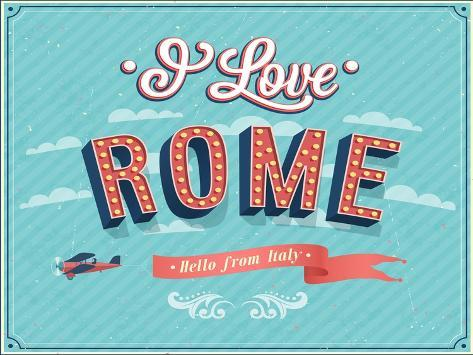 Vintage Greeting Card From Rome - Italy-MiloArt-Stretched Canvas Print