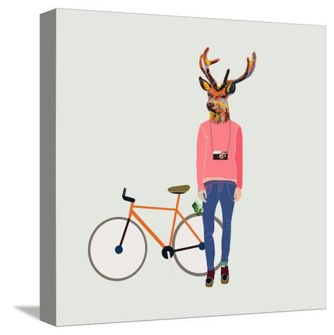 Fashionable Hipster Deer-run4it-Stretched Canvas Print