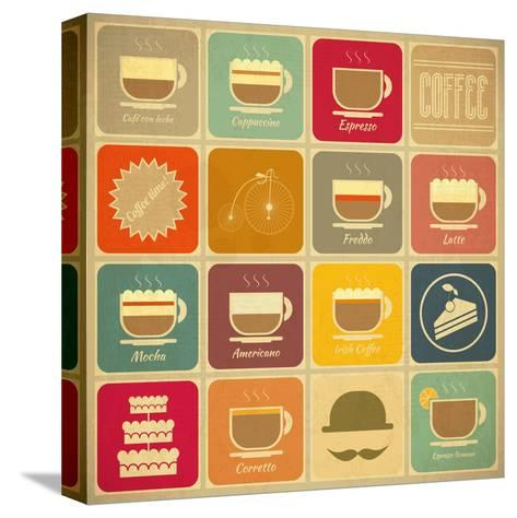 Coffee Labels-elfivetrov-Stretched Canvas Print