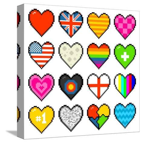 8-Bit Assorted Pixel Hearts-wongstock-Stretched Canvas Print