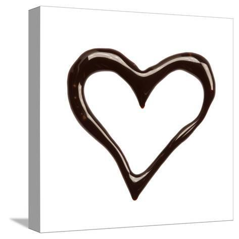 Close Up Chocolate Syrup Heart On White Background-donatas1205-Stretched Canvas Print