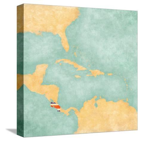 Map Of Caribbean - Costa Rica (Vintage Series)-Tindo-Stretched Canvas Print