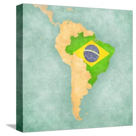 Map Of South America - Brazil (Vintage Series)-Tindo-Stretched Canvas Print