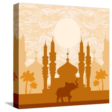 India Background,Elephant, Building And Palm Trees-JackyBrown-Stretched Canvas Print