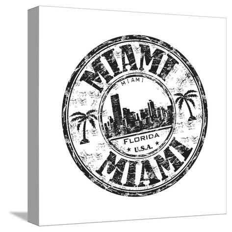 Miami Grunge Rubber Stamp-oxlock-Stretched Canvas Print