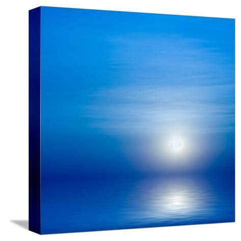 Moon, Sky And Blue Sea-alanuster-Stretched Canvas Print