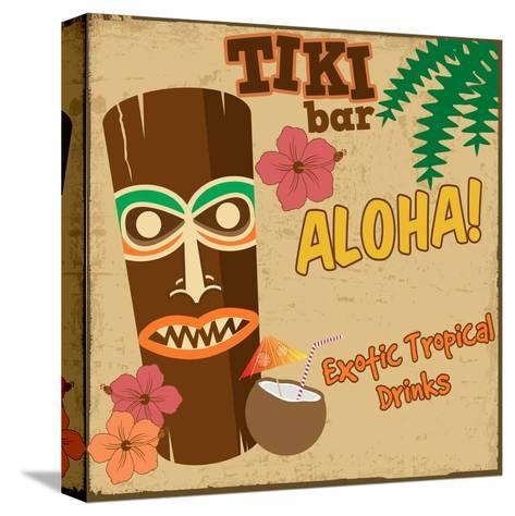 Tiki Bar Vintage Poster-radubalint-Stretched Canvas Print