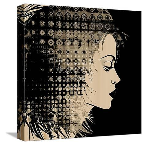 Art Sketched Beautiful Girl Face In Profile With Geometric Ornament Hair On Black Background-Irina QQQ-Stretched Canvas Print