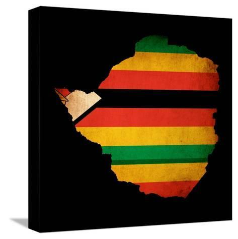 Map Outline Of Zimbabwe With Flag Grunge Paper Effect-Veneratio-Stretched Canvas Print