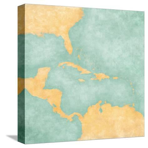 Map Of Caribbean - Blank Map (Vintage Series)-Tindo-Stretched Canvas Print