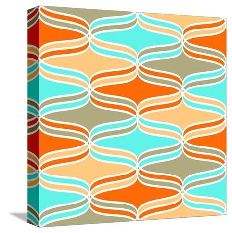 Geometric Wavy Lines Pattern- klivenkova-Stretched Canvas Print