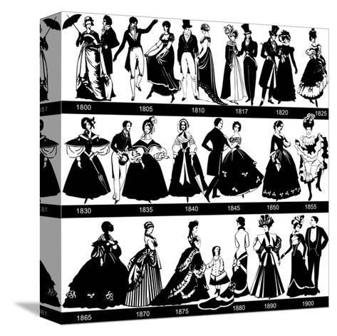 1800-1900 Fashion Silhouettes-Cicero96-Stretched Canvas Print