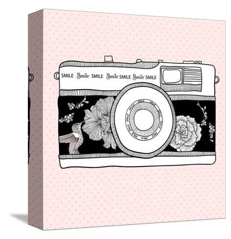 Background With Retro Camera. Photo Camera With Flowers And Birds-cherry blossom girl-Stretched Canvas Print