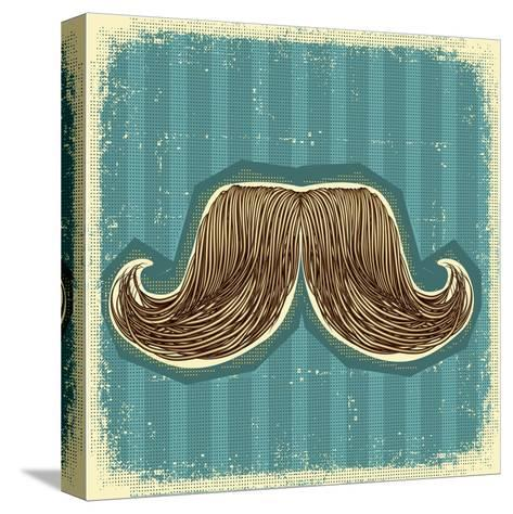 Mustaches Symbol Set On Old Paper Texture.Vintage Background-GeraKTV-Stretched Canvas Print