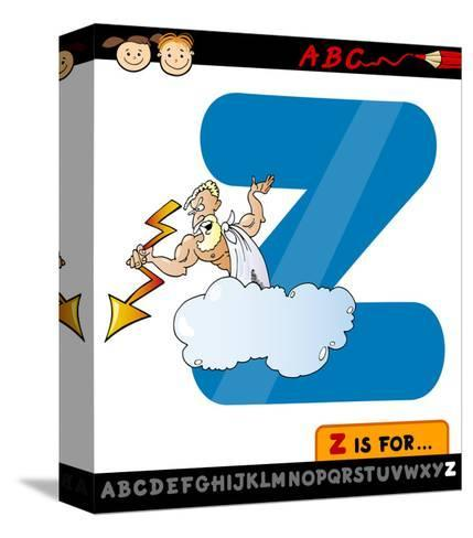 Letter Z With Zeus Cartoon Illustration-Igor Zakowski-Stretched Canvas Print