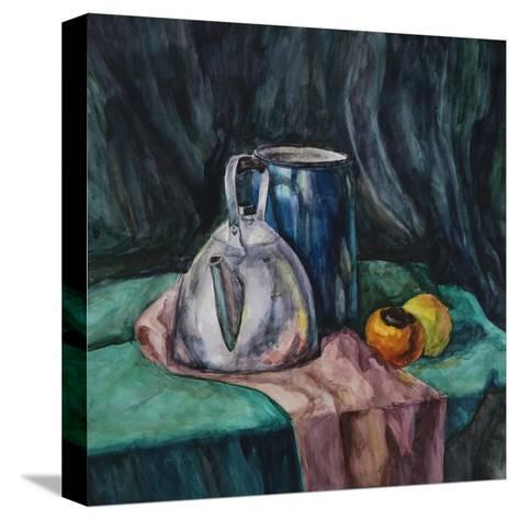 Still Life With Metal Teapot And Milk-Can-Solodkov-Stretched Canvas Print