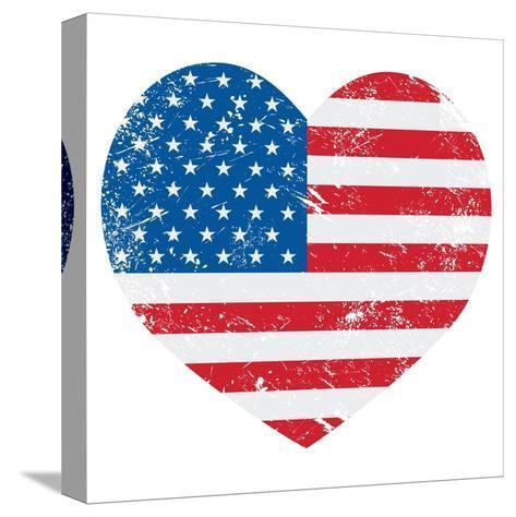 United States On America Retro Heart Flag-RedKoala-Stretched Canvas Print