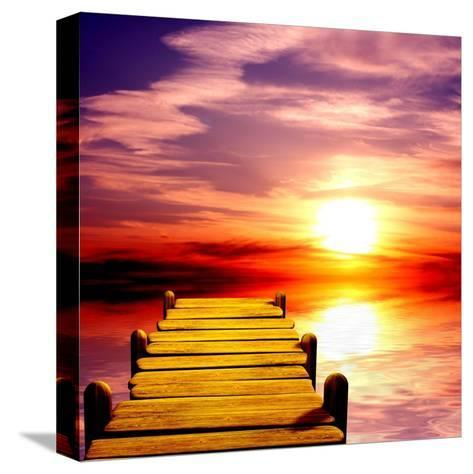 Fantasy Beautiful Sunset And Wooden Pier-frenta-Stretched Canvas Print