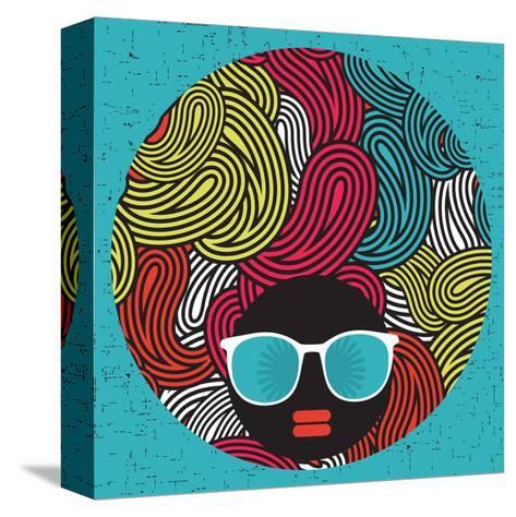 Black Head Woman With Strange Pattern Hair-panova-Stretched Canvas Print