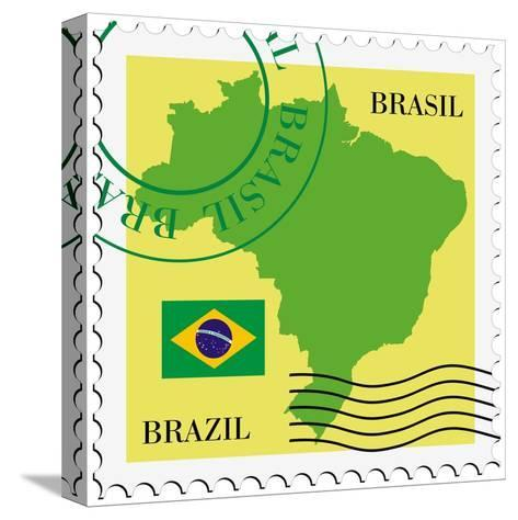 Stamp With Map And Flag Of Brazil-Perysty-Stretched Canvas Print