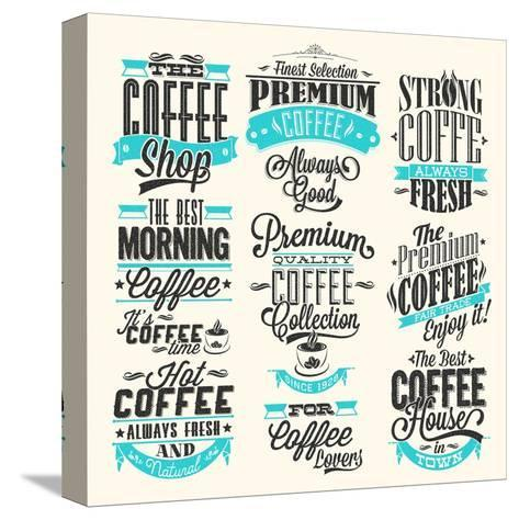 Set Of Vintage Retro Coffee Labels-Melindula-Stretched Canvas Print