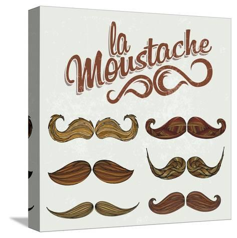 Hand Drawn Brown Mustache Set-Melindula-Stretched Canvas Print
