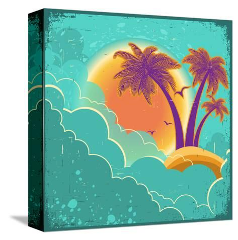 Vintage Tropical Island Background With Sun And Dark Clouds On Old Paper Poster-GeraKTV-Stretched Canvas Print