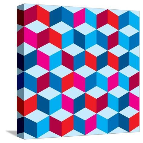 Optical Illusion Background In Red White And Blue With Seamless Pattern-nicemonkey-Stretched Canvas Print