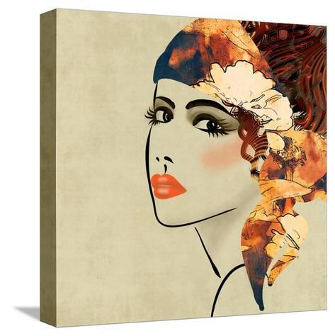 Art Colorful Sketching Beautiful Girl Face On Sepia Background, In Art Deco Style-Irina QQQ-Stretched Canvas Print