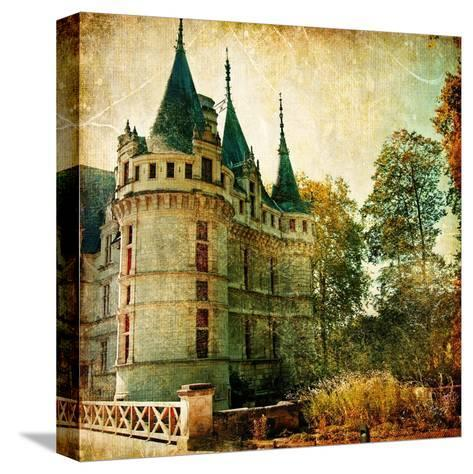 Castles Of France - Vintage Series-Maugli-l-Stretched Canvas Print