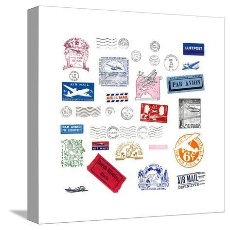 Vintage Airmail Labels And Stamps-cmfotoworks-Stretched Canvas Print
