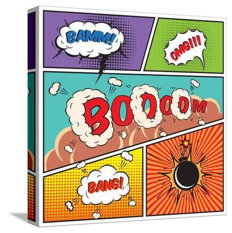 Comic Speech Bubbles-Macrovector-Stretched Canvas Print