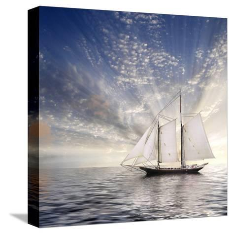 Sailboat Sun And Sky-rolffimages-Stretched Canvas Print