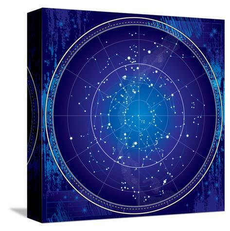 Celestial Map of the Night Sky-Green Ocean-Stretched Canvas Print