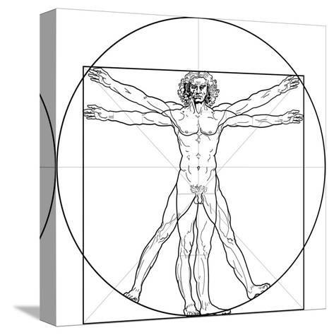 The Vitruvian Man, or Leonardo's Man-Green Ocean-Stretched Canvas Print