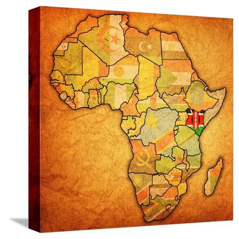 Kenya on Actual Map of Africa-michal812-Stretched Canvas Print