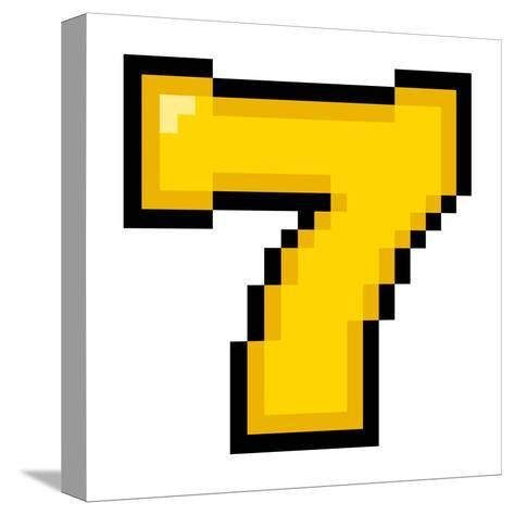8-Bit Pixel Art Lucky Number Seven-wongstock-Stretched Canvas Print