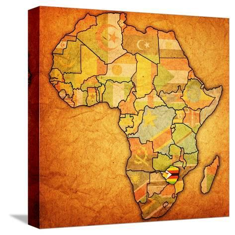 Zimbabwe on Actual Map of Africa-michal812-Stretched Canvas Print
