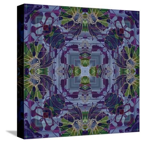 Art Nouveau Geometric Ornamental Vintage Pattern in Violet and Green Colors-Irina QQQ-Stretched Canvas Print