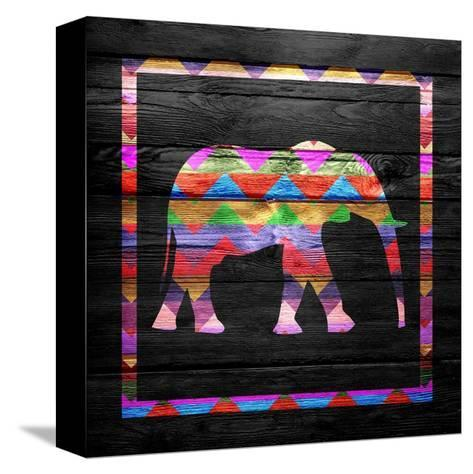 Chevron Elephant Pattern on Wood-ngonhan-Stretched Canvas Print