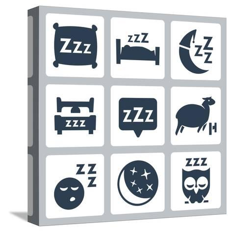 Vector Isolated Sleep Concept Icons Set: Pillow, Bed, Moon, Sheep, Owl, Zzz-GreyJ-Stretched Canvas Print
