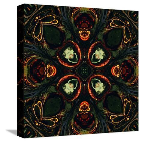 Art Nouveau Ornamental Vintage Pattern in Green and Red Colors-Irina QQQ-Stretched Canvas Print