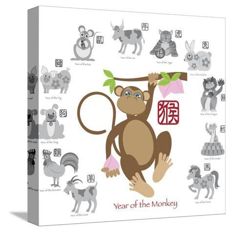 Chinese New Year Monkey Color with Twelve Zodiacs Illustration-jpldesigns-Stretched Canvas Print