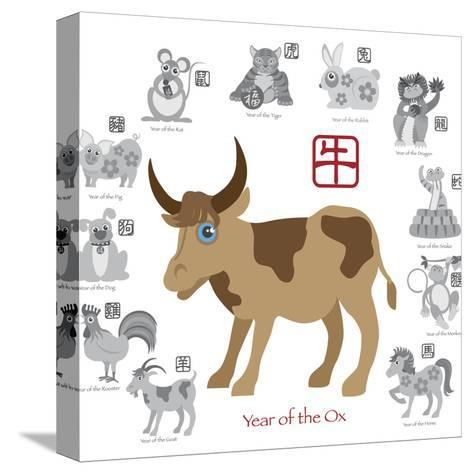 Chinese New Year Ox Color with Twelve Zodiacs Illustration-jpldesigns-Stretched Canvas Print