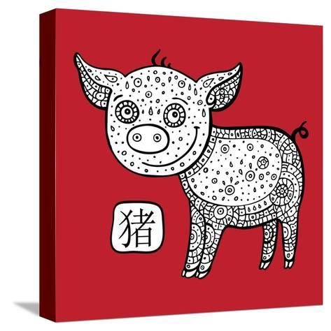 Chinese Zodiac. Animal Astrological Sign. Pig.-Katyau-Stretched Canvas Print