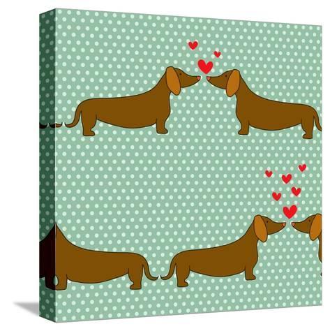 Cartoon Dogs Pattern.-TashaNatasha-Stretched Canvas Print