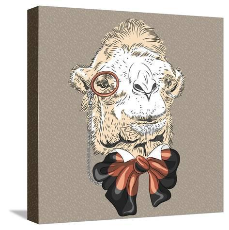 Vector Closeup Portrait of Funny Camel Hipster-kavalenkava volha-Stretched Canvas Print