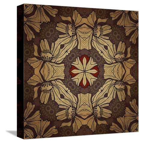 Art Nouveau Geometric Ornamental Vintage Pattern in Beige, Violet and Brown Colors-Irina QQQ-Stretched Canvas Print